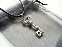 """Tibetan Silver Ornate Key Charm Necklace /& Gift Bag 2/"""" Ext Chain 18/"""" Cord"""