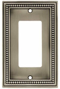 Brainerd W10237-BSP Brushed Satin Pewter Beaded Single GFCI Cover Plate