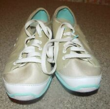 DR. SCHOLL JENNIE WOMENS SIZE 10 CANVAS TAN AND TEAL