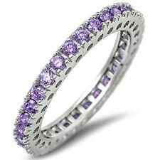 Eternity Wedding Band 5 Color Gemstones .925 Sterling Silver Band 4-12