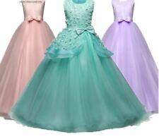 NEW Lovely Kids Girls Princess Long Elegant Lace Dress