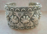 Wide Chimney Butte Navajo Sterling Silver Chased Repousse Cuff Bracelet  100AT1