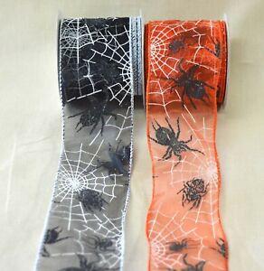 Halloween! Spider & Web-figured Wired Organza Ribbon Orange Or Black