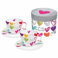 Boxed Cappuccino Cups & Saucers Set Paper Hearts Design by PPD