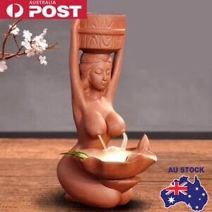 Retro Lady Backflow Incense Burner Oil Diffuser Holder Home Decor Accessories