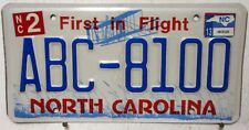 2013 North Carolina license plates tag ABC-8100 plate First Flight blue man cave