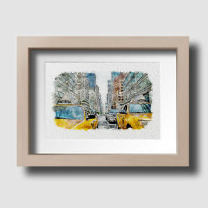 New York City Yellow Taxi Cab Watercolour Wall Art Print Picture Unframed