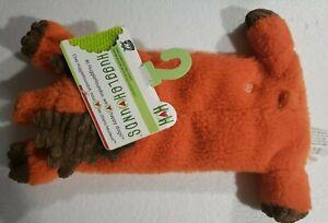 HuggleHounds Plush Durable Knottie Moose Dog Toy New - Orange Color