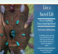 "Blue LIVE A SACRED LIFE Grid Card 4x6"" Heavy Cardstock Use with Healing Crystals"