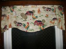 Chicken Rooster Farm Country Kitchen toile fabric window topper curtain Valance