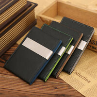 Top Quality Men Genuine Leather Silver Money Clip Bifold Slim Wallet Money Clip