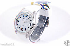 Crystal Collection Watch with Roman numbers Dial & White Silicone Band B4483MIYK