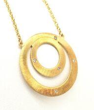 "Designer Genuine Diamond .05tcw 18k yellow gold Fashion circle Necklace 16""  NWT"
