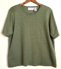 Alfred Dunner Acrylic Women's Olive Green Light Top - L (NWOT)