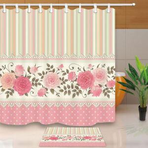 Pink Peony Flower Stripe Decor Bathroom ShowerCurtain Set Fabric& 12 Hooks