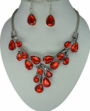  SALE  Red Crystal Vintage Silver Chain Statement Necklace Earrings Set
