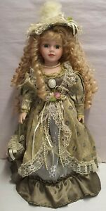 Decorative Victorian Style Dressed Doll Porcelain Head Hands & Feet 47cm Tall