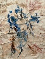 VINTAGE ABSTRACT EXPRESSIONIST  MODERNIST NUDE FIGURE PORTRAIT STUDY PAINTING