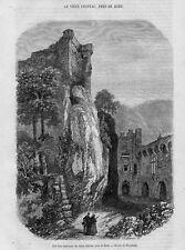 Stampa antica BADEN-BADEN Castello Germania 1858 Alte Stich Old antique print