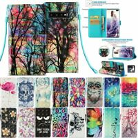 For Samsung S10 Plus S10e Phone Magnetic Wallet Case Leather 3D Flip Strap Cover