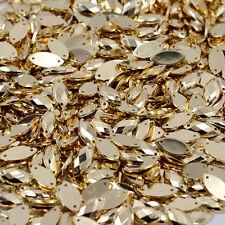 50 x Gold Sew on Acrylic Tear Drop Diamante Crystal Gems Rhinestone  7x15mm #1