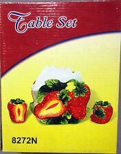 New Red Strawberry Tissue Holder & Salt Pepper Shaker Set Strawberries #8272N