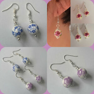 CERAMIC bead white round flower floral pink blue rose daisy earrings hooks