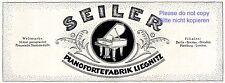 Seiler Klavier Liegnitz Reklame von 1920 Pianoforte Piano Werbung Flügel +