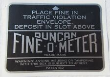 Duncan Fine-O-Meter Instruction Plate Decal. Parking Meter Decals