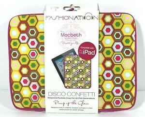 Fashion Nation Macbeth Collection Disco Confetti iPad Sleeve Zipper Case New