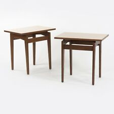 Pair of Jens Risom Designs Inc Walnut & Laminate End Side Table Knoll Eames