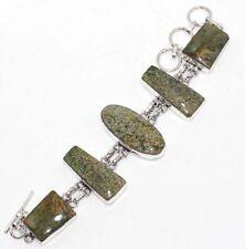 "Handmade Bracelet 8"" Unique Gift Gw Ocean Jasper 925 Sterling Silver Plated"