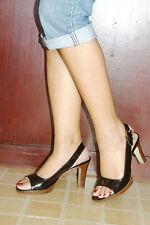 FRANCO SARTO sling-back open-toe patent leather platform sandals, size6 1/2M