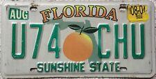 GENUINE American Florida Citrus SUNSHINE STATE USA License Number Plate U74 CHU