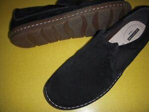 Clarks Tamitha Gwyn Suede Leather Slip-On Shoes Flats Women's 10 W Black 10W