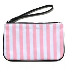 Victoria's Secret Signature Pink Striped Beauty Rush Mini Bag with Keyring