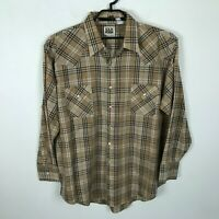 Vintage Ely Cattleman Shirt Size 2XL Mens Brown Plaid Western Pearl Snap Cotton