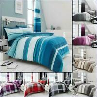 Check Printed Duvet Cover Set Stripe Reversible Single Double Super King Size