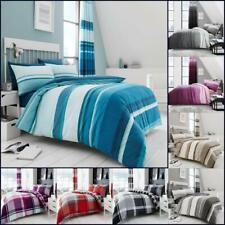 Check Printed Duvet Cover Set Stripe Reversible Single Double Super King Size