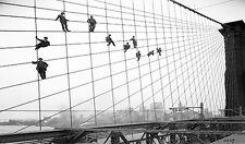 new york bridge antique print photograph black white large 70cm  X 40cm