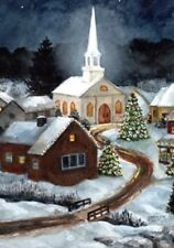 Toland Home Garden Winter Church 28 x 40-Inch Decorative USA-Produced House Flag
