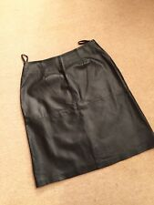 Milan Ladies Black Real Leather Classic Knee Length Skirt Size 14
