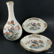 Wedgwood Bud Vase & Pin Dish Tray Pair Kutani Crane Pattern c1980s Bone China UK