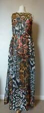 RESORT (Very) Sequin & Animal Print Chiffon Beach Maxi Dress Size 12 NEW Multi