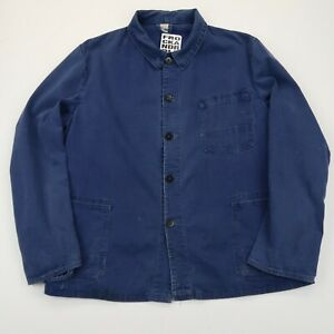 VINTAGE French EU Worker CHORE Work Shirt Jacket Worn Faded SZ Medium (G505)