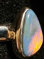 Solid Australian semi black Opal Ring Size 8.75 Handmade By Me 3.2 grams .925