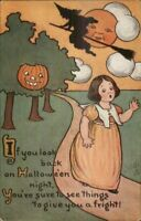 Halloween - SCARCE TUCK Series 816 Little Girl & Witch c1910 Postcard EXC COND