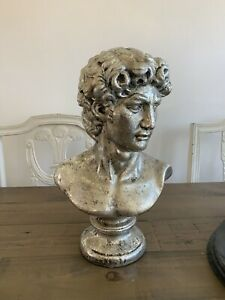 michelangelo david statue Silver Bust Ornament Art Figurines Head Decor Home Art