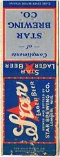 1930s Lomira Wisconsin Star Beer Matchcover TavernTrove