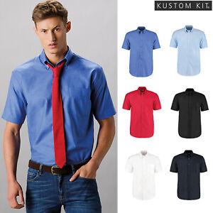 Kustom Kit Workplace Oxford Short Sleeved Shirt (KK350)-Smart Work Office Pocket